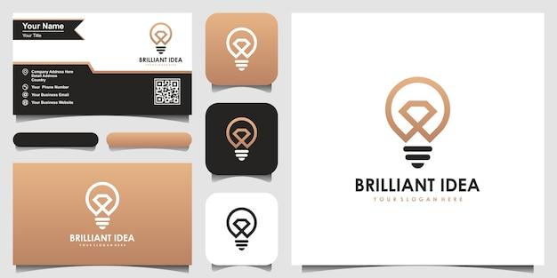 Creative bulb lamp and diamond logo and business card design Premium Vector