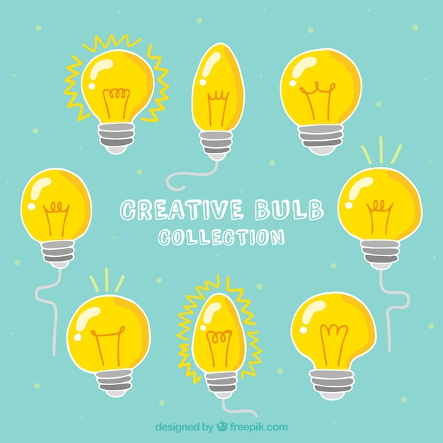 Creative bulbs collection Free Vector