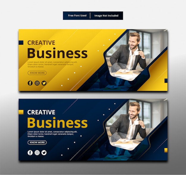 創造的なビジネスバナーテンプレートデザイン。 Premiumベクター