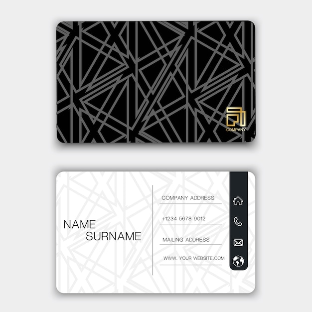 Creative business card design on the gray background. Premium Vector