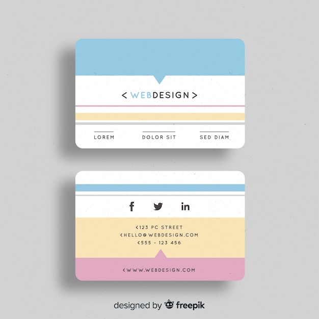 Creative Business Card Template In Flat Design Vector Free Download