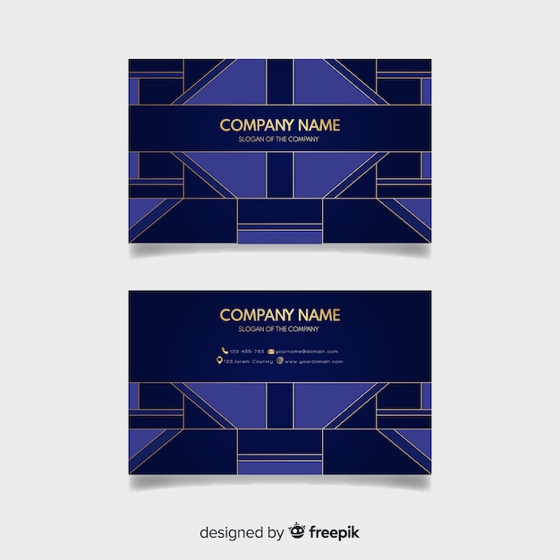 Creative Business Card Template With Geometric Shapes Vector Free