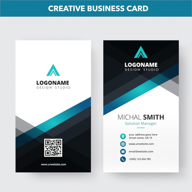 Creative business card template Premium Vector