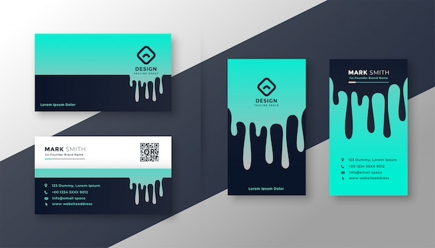 Creative business card vertical and horizontal set Free Vector