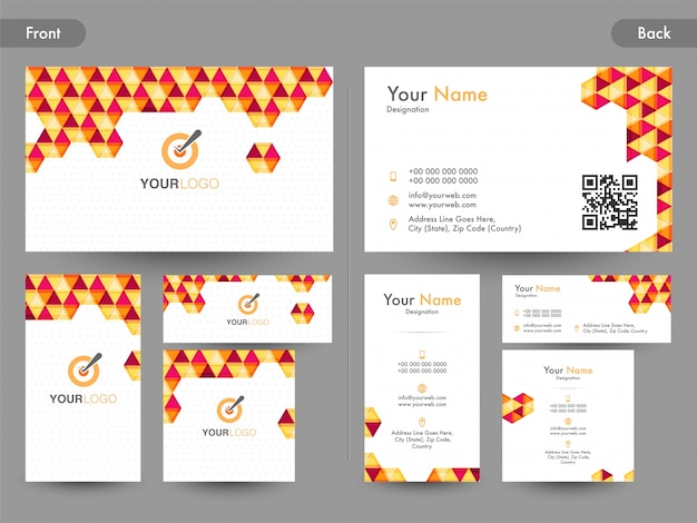 Creative Business Card, Visiting Card Or Name Card Set With Front