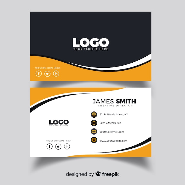 Creative business card with abstract shapes Premium Vector