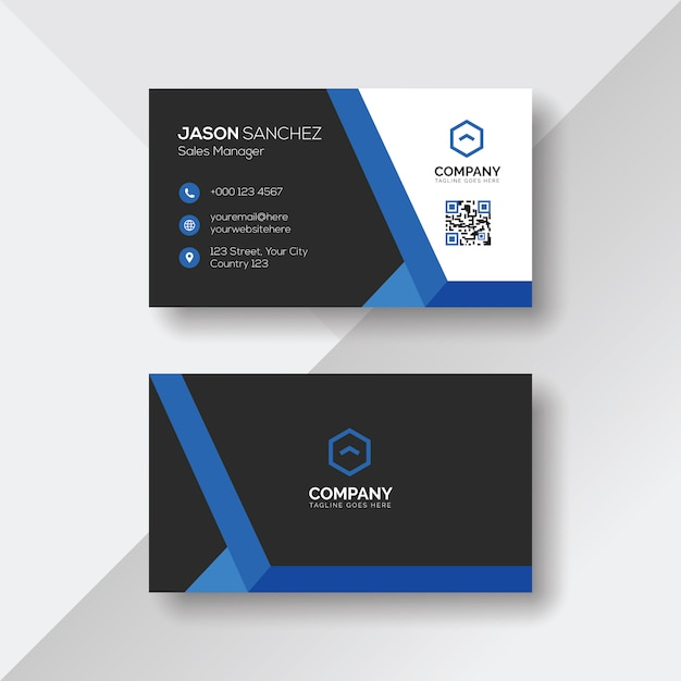 Creative business card with blue details Premium Vector