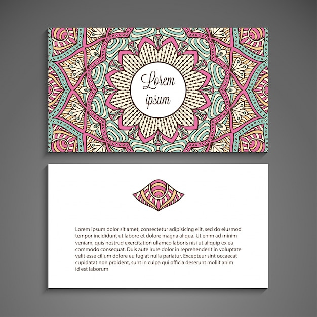 Creative business card with mandala concept Vector Free Download