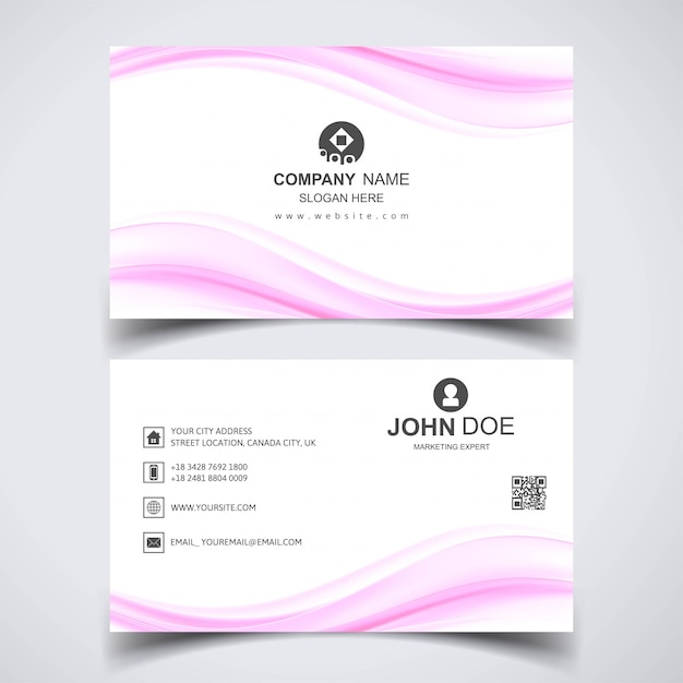 Creative business card with pink waves Free Vector