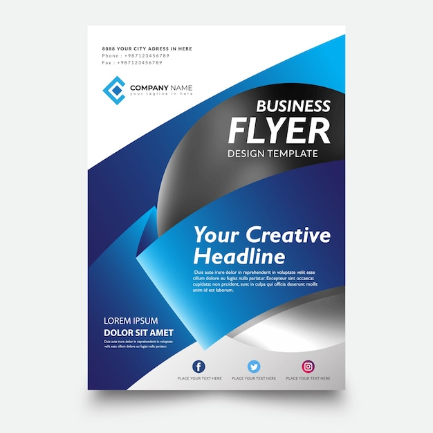 Creative business flyer template design Premium Vector