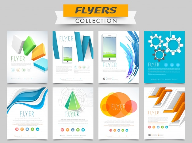 Creative Business Flyers Or Templates Collection With Abstract Elements