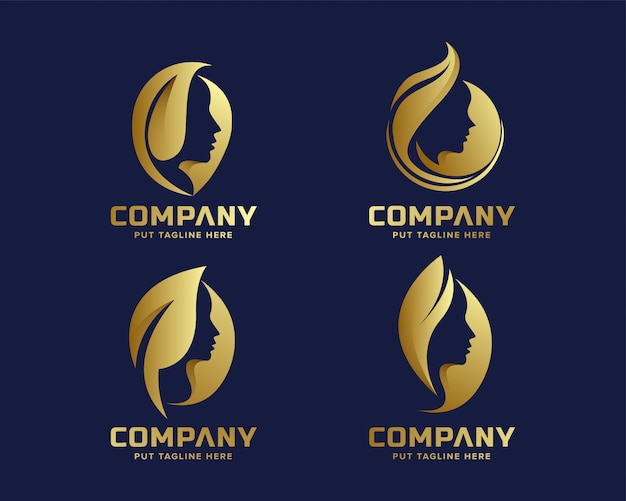 Creative business golden beauty spa cosmetics logo collection Premium Vector