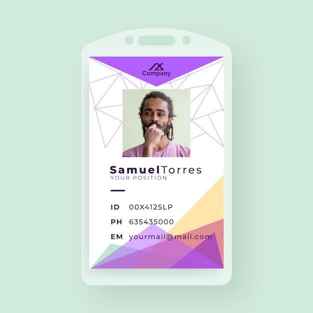ミニマリストの形と写真でクリエイティブなビジネスidカード 無料ベクター
