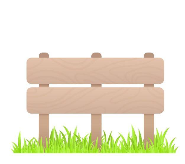 白い背景の上の草と木製の低いフェンスの創造的なビジネスイラスト Premiumベクター