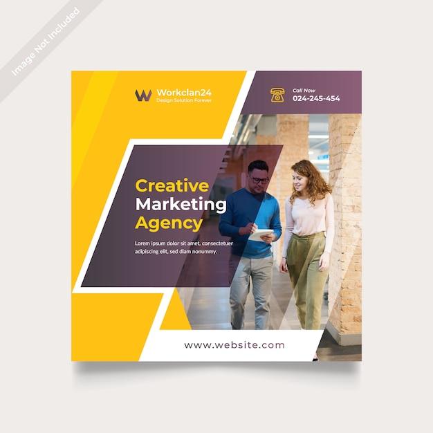 Creative business marketing social media banner square Premium Vector