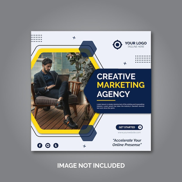 Creative business marketing social media post template Premium Vector