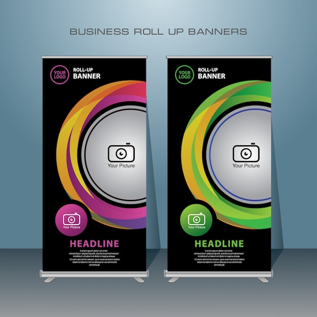 Creative business rollup. standing banner design. Premium Vector