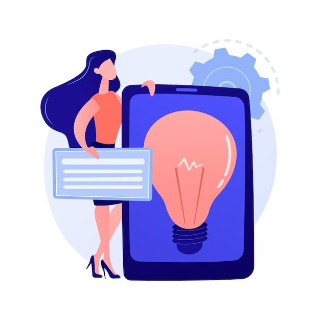 Presentazione della soluzione aziendale creativa. avvio redditizio, idea, strategia di sviluppo aziendale. lampadina sullo schermo del tablet. illustrazione di concetto di simbolo di brainstorming Vettore gratuito