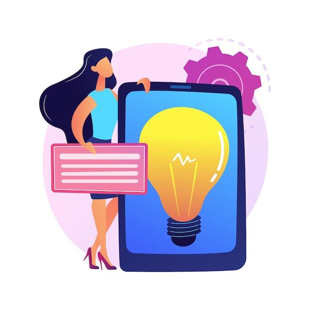 Presentazione della soluzione aziendale creativa. avvio redditizio, idea, strategia di sviluppo aziendale. lampadina sullo schermo del tablet. simbolo di brainstorming. Vettore gratuito