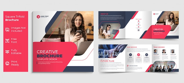 Creative business square trifold brochure template design Premium Vector