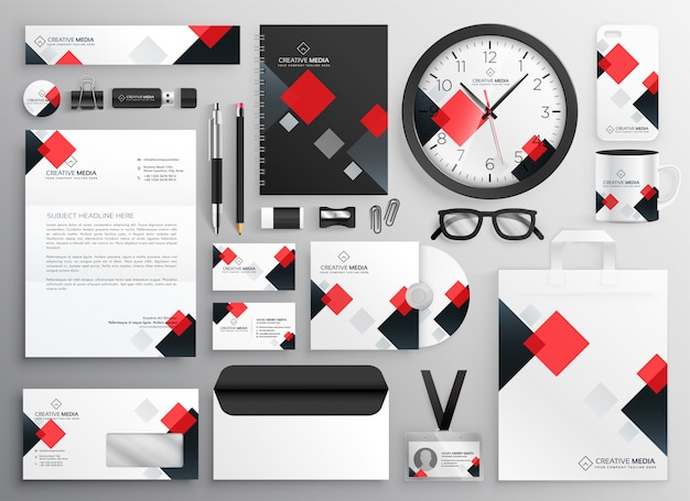 Creative business stationery collateral set in red theme Free Vector