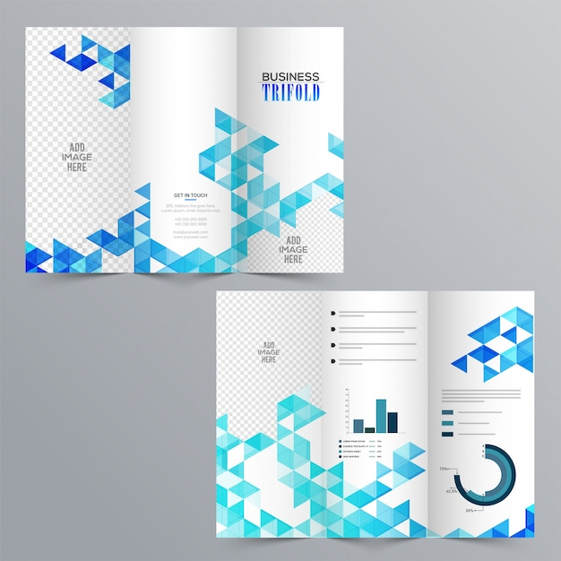 Blue Geometric Trifold Business Brochure Design Template: Creative Business Tri-fold Brochure With Blue Abstract