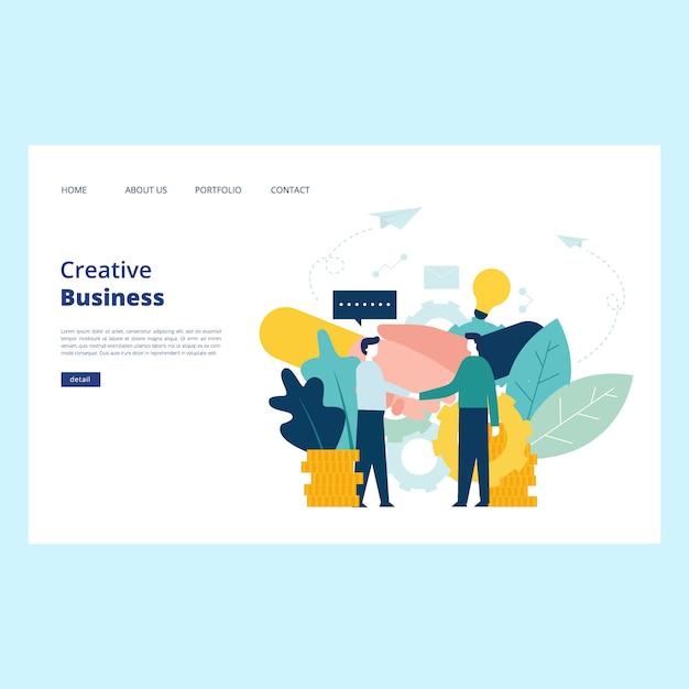 創造的なビジネスwebページのベクトル Premiumベクター