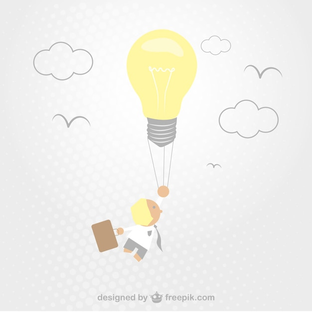Creative businessman having an idea with a\ bulb
