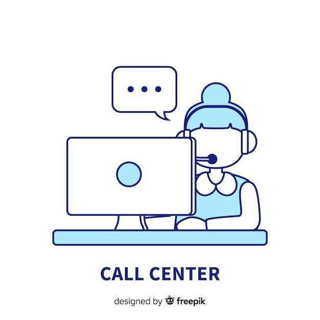 Creative call center background in lineal design Free Vector