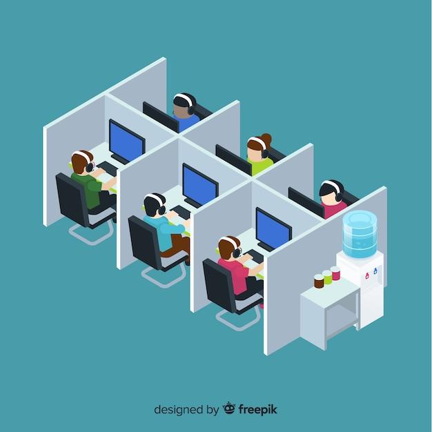 Creative call center in isometric design Free Vector