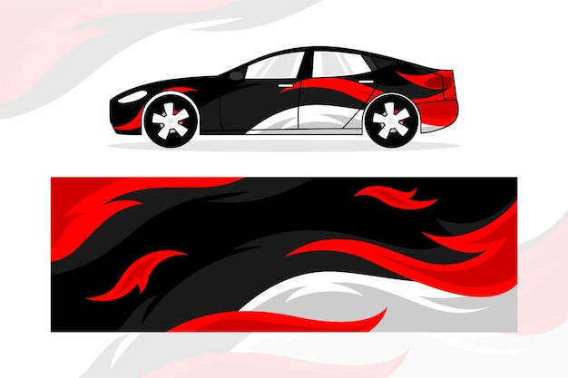 Creative car wrap design Premium Vector