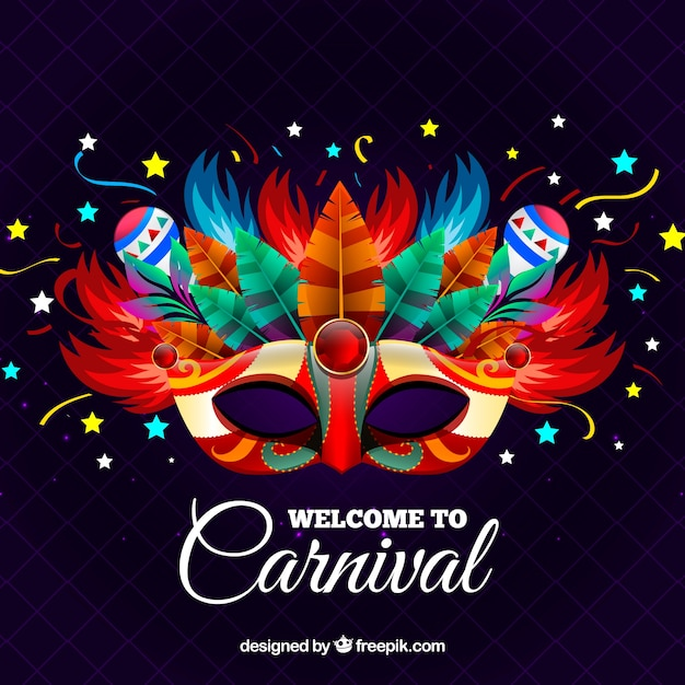 Creative carnival background with mask Free Vector