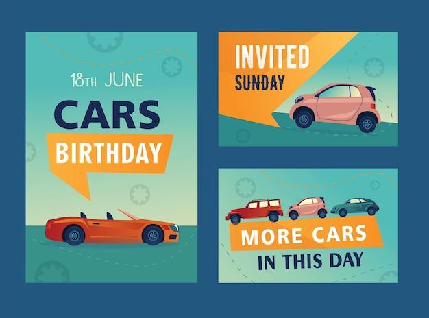 Disegni di invito festa di compleanno di automobili creative. Vettore gratuito