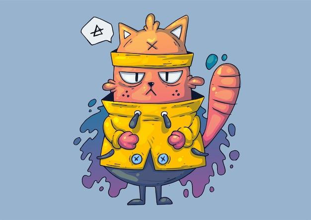 크리 에이 티브 만화 그림. 노란색 스웨터에 웃 긴 고양이. 프리미엄 벡터