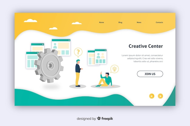 Creative center marketing landing page Free Vector