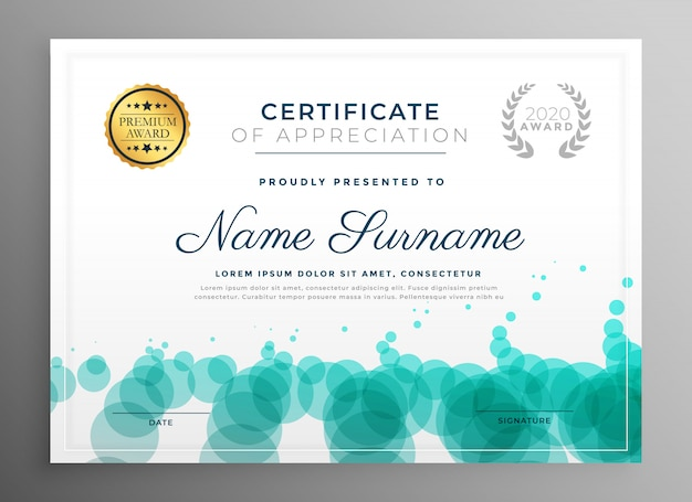 creative certificate template design with dots pattern