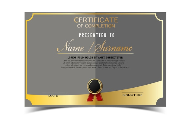 Superb Creative Certificate Template For Completion Award With Golden Shapes And  Badge.Clean And Modern For  Official Certificate Template