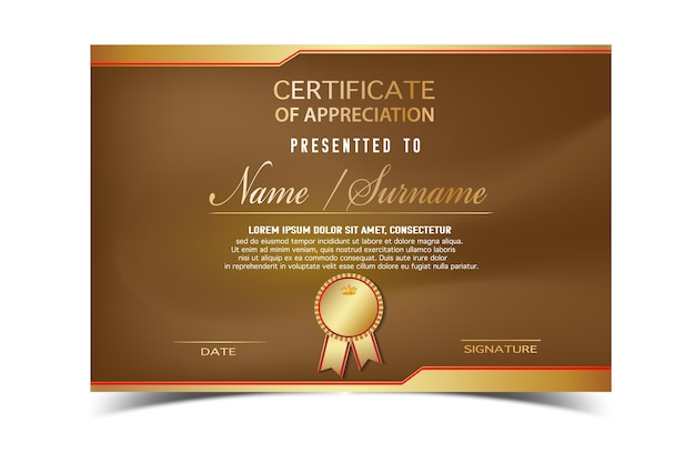 Creative Certificate Template For Completion Award With Golden Shapes And  Badge.Clean And Modern For  Official Certificate Template