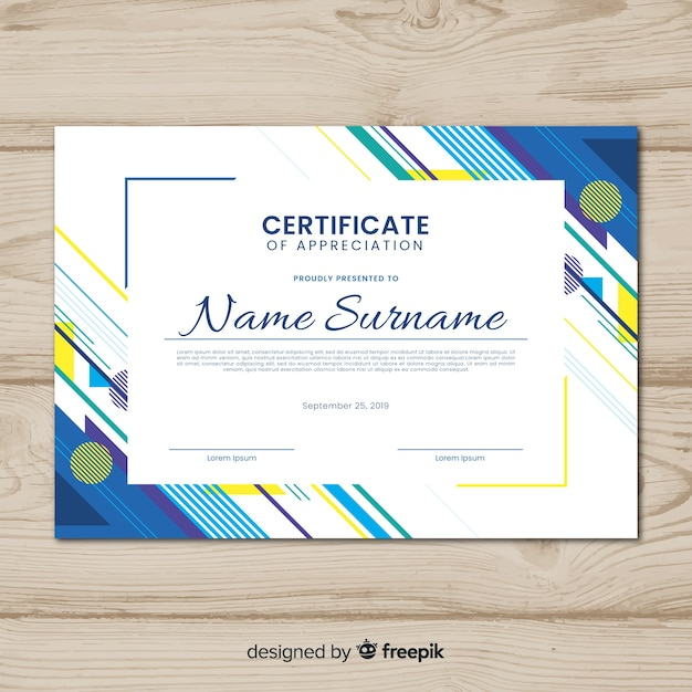 creative certificate template with abstract shapes vector