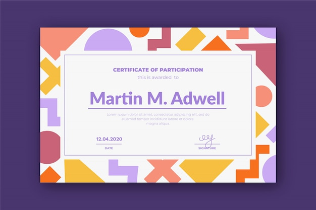 Creative certificate template with colorful geometry shapes. Premium Vector