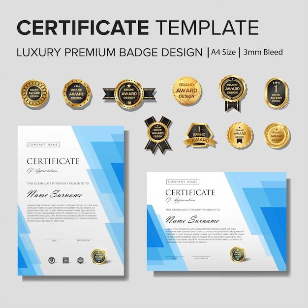 Creative certificate template with golden details Premium Vector