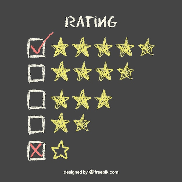 Creative chalkboard star rating concept Free Vector