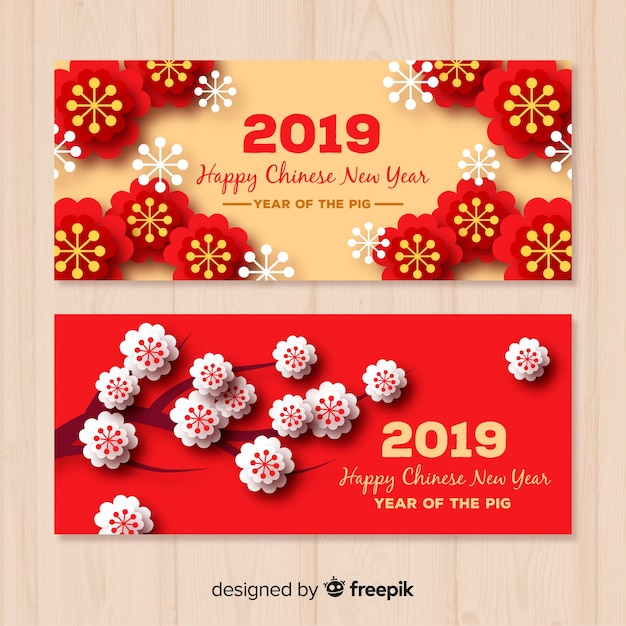 Creative chinese new year banners Free Vector