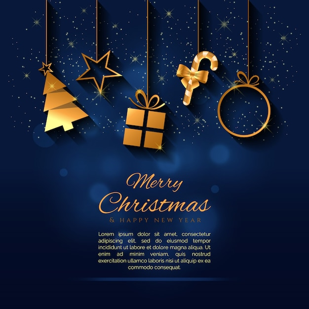 Creative christmas background with a gold elements vector Premium Vector