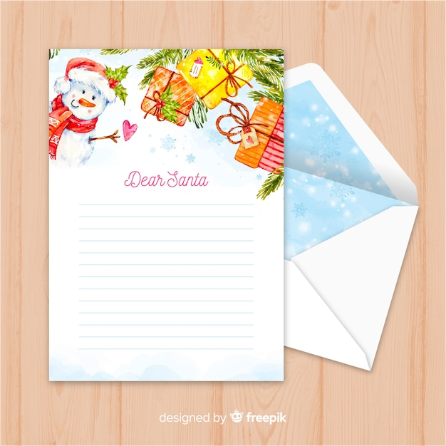Creative christmas envelope and letter in watercolor design Free Vector