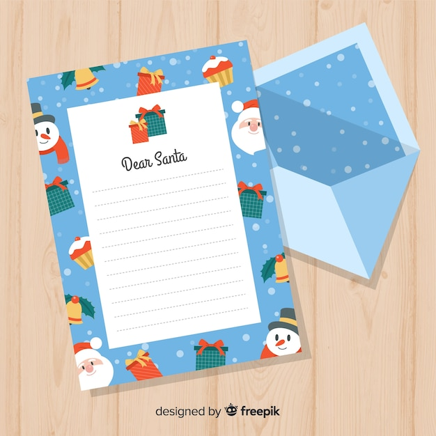 creative christmas letter and envelope template free vector