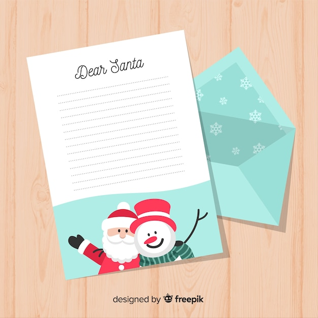 Creative Christmas Letter And Envelope Template Vector