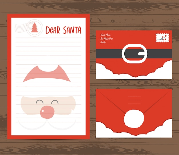 Creative christmas letter and envelope template Premium Vector