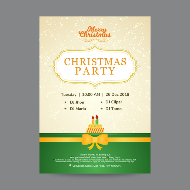 creative christmas party poster design template premium vector