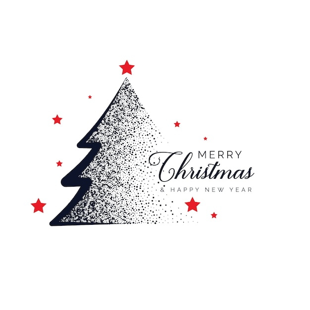 creative christmas tree design made with dots background Free Vector